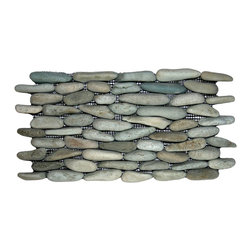 """Pebble Tile Shop - Sea Green Standing Pebble Tile - Each stone is carefully selected and hand-sorted according to color, size and shape in order to ensure the highest quality pebble tile available.  The stones are attached to a sturdy mesh backing using non-toxic, environmentally safe glue.  Because of the unique pattern in which our tile is created they fit together seamlessly when installed so you cant tell where one tile ends and the next begins!  Usage:   Shower walls, bathroom walls, general wall covering, backsplashes, swimming pools, patios, fireplaces and more.  Interior & exterior. Commercial & residential.  Details:    Sheet Backing: Mesh   Sheet Dimensions: 6\ x 12\""""   Pebble size: Approx 3/4\"""" to 2 1/2\""""   Thickness: Approx 1\""""   Finish: Natural Green"""""""