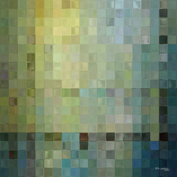 """Mark Lawrence Art - Tile Art #1, 2012. 54""""x54""""Giant Ultra Hand Embellished Fine Art Canvas - Mark Lawrence Gallery offers an exciting selection of large inspired giclee fine art that is displayed in upscale homes, hotels and commercial buildings throughout the world."""