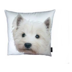 Lava - Westie 18X18 Decorative Pillow (Indoor/Outdoor) - 100% polyester cover and fill.  Suitable for use indoors or out.  Made in USA.  Spot Clean only