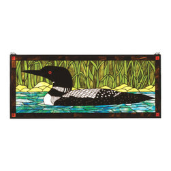 "Meyda Tiffany - Meyda Tiffany 14625 Stained Glass Tiffany Window Outdoor Windows Collec - 40"" W X 17"" H Loon WindowA Black And White Loon Floats On Sparkling Turquoise Waters Beside Marsh Green GrassesIncludes Mounting Brackets and Chains"