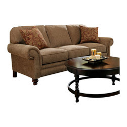 Broyhill - Broyhill Larissa Brown Queen Goodnight Sleeper Sofa with Cherry Wood Finish - Broyhill - Sleeper Sofas - 61127Q1 - About This Product: