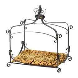 """Koehler Home Decor - Koehler Home Decor Royal Splendor Pet Bed - Brightly bejeweled and lushly outfitted in decadent animal-print velvet, this lavish bed is the """"purr-fect"""" place to pleasingly pamper your four-footed friend. Cats and smaller dogs alike will delight at the sight of this marvelous piece of fabulous furniture - sized just right to be all their own - no humans allowed. Matte-finish wrought-iron frame is fittingly topped with a jeweled """"crown"""". Metal with fabric bed pad. 25.25""""x 18""""x 27.50"""" high.Metal with fabric bed pad. Size: 25.25""""x 18""""x 27.50"""" high."""
