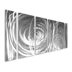 Pure Art - Silver Adoration Six-Panel Handpainted Metal Wall Hanging - Silver has a way of lighting up an interior space with a look that is lavish and sophisticated. Such is the inspiration behind the Silver Adoration Six Panel Handpainted Metal Wall hanging, a handcrafted and hand painted aluminum wall art grouping that features oodles of abstract circles on a field of charcoal gray and silver.  Ideally sized for hanging over the sofa or couch, this big wall art grouping is made from premium aluminum and materials and is destined to be counted among your favorite works of art.  Perfect wall art grouping for both home and office settings, this aluminum wall sculpture group is perfect for any wall where you want to add drama and excitementMade with top grade aluminum material and handcrafted with the use of special colors, it is a very appealing piece that sticks out with its genuine glow. Easy to hang and clean.