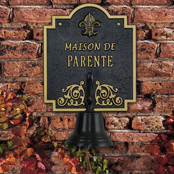 """Frontgate - Personalized Fleur de Lis Bell Plaque - Handmade from recycled cast aluminum. Non-corroding. Black ground. Can be personalized with last name up to 12 characters. Characters are 1-1/4"""" high. Enduringly cast in all-weather aluminum, the Personalized Fleur de Lis Bell Plaque welcomes guests wherever it is placed. This plaque's classic French theme works beautifully in a wine cellar, by the front door, near a garden gate, or on a carriage house.  .  .  . .  . Made in USA. Please check for accuracy; personalized orders cannot be modified, cancelled, or returned after being placed."""