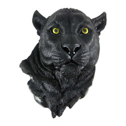 Black Panther Head Mount Wall Statue Bust - This awesome, cold cast resin replica black panther wall mount is a prefect addition to any jungle themed room. The head measures 17 inches tall, 12 inches wide and 9 inches deep. The detail is incredible, down to the hand painted eyes. This panther`s head is brand new, and makes a great gift for any panther lover.