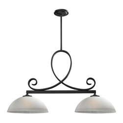 Z-Lite - Z-Lite Arshe 603-2 Island Light - 13.5W in. - Bronze - 603-2 - Shop for Pendants from Hayneedle.com! Bring attention to your countertops with the Z-Lite Arshe 603-2 Island Light -- 13.5W in. -- Bronze. This beautiful cafe bronze fixture features two frosted glass domes fitted with two medium base 100-watt bulbs (sold separately) that will fully illuminate the kitchen island where you prepare meals and have your morning cup of coffee. Its unique design features ornate curlicues and up to five rods with matching cafe bronze finish for you to hang the light as high or as low as you like! Measures 13.5W x 36D x 69.5H inches. UL certified for dry application.About Z-LiteThis superior lighting product is designed by Z-Lite a leader in home lighting. Handcrafted and expertly designed Z-Lite lamps and lighting are unique works of art. Slight variations in color exist. Look to Z-Lite for a wide assortment of stylish ambient lighting for your home.