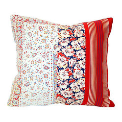 Flowers and Stripes Patchwork Pillow