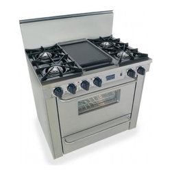 """FiveStar - TTN-310-7BW 36"""" Freestanding Gas-Natural Gas Range With 4 Open Burners  3.69 Cu. - A full-size gas or electric oven with optional TurboFlow convection and four sealed Ultra High-Low burners with one-piece continuous grates or two open Vari-Flame burners with individual continuous grates give the FiveStar 36 range the same power cap..."""