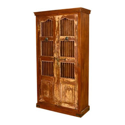 "Sierra Living Concepts - Lincoln Reclaimed Wood & Iron Bookcase Armoire Cabinet - Bring history home with our Lincoln 83"" high Closed Bookcase Cabinet. This solid hardwood armoire has four long shelves and stands directly on the floor. It's built with eco-friendly reclaimed wood from Gujarat, so the surfaces have been naturally seasoned over time and are authentically distressed. You can look inside when the doors are closed and see your favorite books or other contents through the thin iron bars. The rustic yet traditional standing cabinet features black wrought iron ring pulls and a sliding latch."