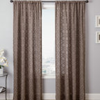Blindsgalore Signature Drapery Panel: Concord Faux Linen - With the look of scrim linen, the Concord drapery panel features a detailed embroidered scroll pattern.  The open weave fabric is soft and sheer. The pattern and the color of the base fabric are visible on the reverse side on the panel. Enjoy premium workmanship and luxurious fabrics with Blindsgalore Signature drapery panels.
