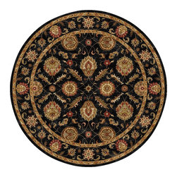 Jaipur Rugs - Jaipur Rugs Hand-Tufted Oriental Pattern Wool Black/Red Round Area Rug, 8 X 8ft - Sublime hues and graceful lines accentuate the traditional pattern motifs in Mythos, an elegant and value-driven range of durable, hand-tufted area rugs. This sophisticated collection is for the discriminating consumer with a passion for traditional design, at prices that answer every budget. The Mythos Collection is tradition, redefined.