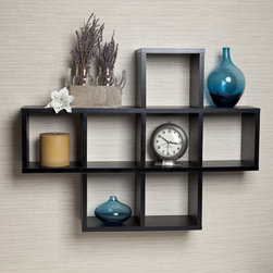 Danya B - Cubby Black Laminate Shelving Unit - Seven storage cubbies plus level display space on top this cubby shelving unit makes space utilization efficient & is perfect for displaying your small decorative items. It can be either hung or placed on a mantel or the floor.