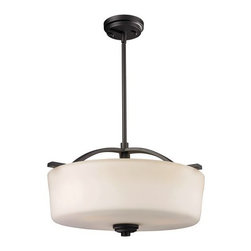 Z-Lite - Z-Lite 220P Arlington 3 Light Bowl Shaped Pendant - Bold and thick framing define this pendant. Finished in oil rubbed bronze, the fixture also has complimentary a matte opal glass shade, which create a soft yet modern look. Telescoping rods are included for a custom look.Features: