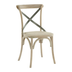 Kathy Kuo Home - Pair Kasson French Country Paris Cafe Wood Metal Dining Chair - A simple yet timeless style in The Kasson Side Chair with a cane seat and industrial Iron accents on the seat back. With a light Natural Wood finish, this chair is sure to add the perfect element to any room.