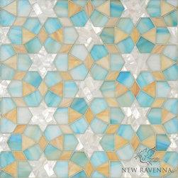 Medina - Miraflores - Medina, jewel glass mosaic shown in Aquamarine, Shell, Agate, is part of the Miraflores Collection by Paul Schatz for New Ravenna Mosaics.