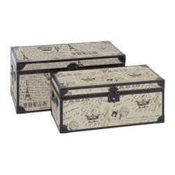 Benzara - Set of 2 Wood Square Storage Trunk Boxes Paris Accent Decor - Traditional set of 2 wood and burlap square storage trunk boxes with a rustic Paris design living room accent decor