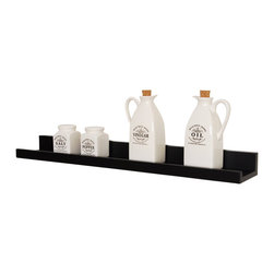 "Welland - Photo Ledge Picture Display Shelf 24"" - No more sweating bullets every time a guest gets too close to your miniature teacup collection. This super skinny shelf with a handy front lip keeps your favorite photos and treasures secure. Or use it to display ornaments that are just a tad too fragile for the tree."