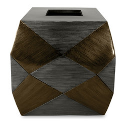 Veratex - Complexity Gun Metal Tissue Cover - With an intriguing design of angular planes in a vibrant two-tone gun metal color,this tissue cover adds a modern look to any home. The cover goes great with the Complexity Four-piece Bath Set.
