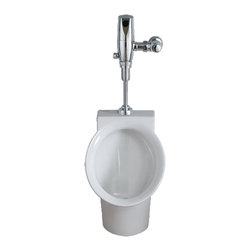 """American Standard - American Standard 6042.005.020 Decorum Flowise High Efficiency Urinal, White - This American Standard 6042.005.020 decorum Flowise High Efficiency Urinal is part of the decorum collection, and comes in a beautiful White finish. This wall-mounted urinal features a sleek, modern, compact design, a vitreous china construction, a permanent EverClean glaze that prevents the growth of bacteria, mold, and mildew, a powerful flushing rim, a 3/4"""" top inlet spud, a wall hanger, and an oulet connection that's threaded 2"""" inside."""