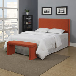 PORTFOLIO - Portfolio Upton Orange Spice Linen Full/Queen Headboard and Bench Set - Put this vibrant queen-size headboard in your bedroom to add color that'll get noticed. The hardwood piece is fully upholstered with linen-like fabric and accented by shiny decorative nailheads. This sturdy headboard comes with a matching bench.