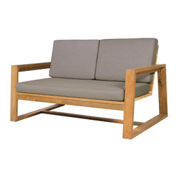 Mama Green - Avalon Lounge, Taupe, 2-Seater - Avalon Lounge Series - Recycled teak frame with Sunbrella cushion. Batyline sling is interwoven in to the base of seat cushion and back rest cushion for added drainage. The cushion itself is made up of a Dacron wrapped QuickDry foam. The firm density of the Foam softens over time and will outlast traditional foam stuffing as the open cell technology of QuickDry foam allows for maximum breath-ability and durability in the elements.