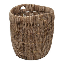 Kouboo - Large Indoor Planter or Storage Basket in Sea Grass - Woven by hand from inverted Madras with a delightfully patterned texture, this indoor planter is perfect for displaying large garden plants. Durable, rugged cut-out handles allow for dependable, easy toting from room to room. A rich brown finish makes a bold statement, and beautifully coordinates with the natural hues of the plant world.