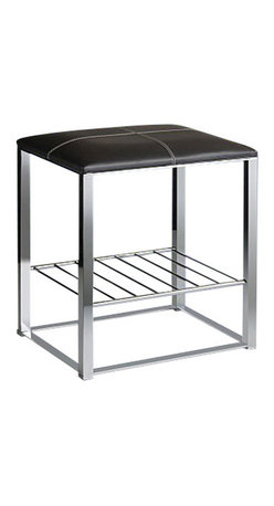 Windisch - Chrome Bathroom Stool with Brown Leather Top and Shelf - Contemporary style stool with marron-brown leather top and shelf.
