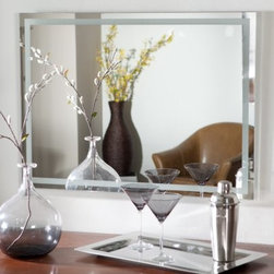 Frameless Etch Wall Mirror - 23.5W x 31.5H in. - The Frameless Etch Wall Mirror brings a stylish contemporary design to your home. This attractive and sophisticated rectangular mirror is sure to add elegance to any wall in your home. Constructed of metal and strong 3/16 glass it features an etched design border created with a fine precise manufacturing process. Mounting hardware is included with the mirror. Weighs 14 pounds. Dimensions: 31.5L x 23.5W x .5D inches.