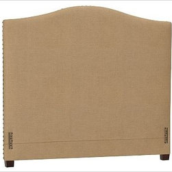 """Raleigh Nailhead Camelback Headboard, King, Washed Linen/Cotton Caramel - Crafted by our own master upholsterers in the heart of North Carolina, our upholstered bed and headboard is available in a graceful camelback silhouette. Crafted with a kiln-dried hardwood frame. Headboard, footrail and siderails are thickly padded and tightly upholstered with your choice of fabric. Nailhead detail trims the outer edges of the headboard. Exposed block feet have a hand-applied espresso finish. Headboard also available separately. The headboard-only option is guaranteed to fit with our PB metal bedframe using the headboard hardware. Bed is designed for use with a box spring and mattress. This is a special-order item and ships directly from the manufacturer. To see fabrics available for Quick Ship and to view our order and return policy, click on the Shipping Info tab above. This item can also be customized with your choice of over {{link path='pages/popups/fab_leather_popup.html' class='popup' width='720' height='800'}}80 custom fabrics and colors{{/link}}. For details and pricing on custom fabrics, please call us at 1.800.840.3658 or click Live Help. View and compare with other collections at {{link path='pages/popups/bedroom_DOC.html' class='popup' width='720' height='800'}}Bedroom Furniture Facts{{/link}}. Crafted in the USA. Full: 57.5"""" wide x 83.5"""" long x 59"""" high Queen: 64.5"""" wide x 88.5"""" long x 59"""" high King: 80.5"""" wide x 88.5"""" long x 59"""" high Cal. King: 74.5"""" wide x 92.5"""" long x 59"""" high Full: 57.5"""" wide x 4.5"""" thick x 59"""" high Queen: 64.5"""" wide x 4.5"""" thick x 59"""" high King: 80.5"""" wide x 4.5"""" thick x 59"""" high Cal. King: 74.5"""" wide x 4.5"""" thick x 59"""" high"""