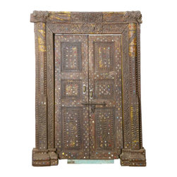 Sierra Living Concepts - Bejeweled Hand Carved Reclaimed Teak Wood Door & Frame - Make your entryway fit for royalty with our stunning Bejeweled Hand Carved Reclaimed Teak Wood Double Doors & complete door frame. Each handmade door and frame is built with solid reclaimed teak wood.