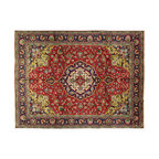 Manhattan Rugs - New Floral Tabriz Area Rug 10x13 Cranberry Red/Navy Blue Hand Knotted Wool T249 - This is a true hand knotted oriental rug. it is not hand tufted with backing, not hooked or machine made. our entire inventory is made of hand knotted rugs. (all we do is hand knotted)