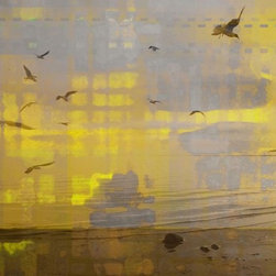 "Parvez Taj - Wall Prints - Lake Rosseau - 24""x36"" - Birds of paradise. This serene and beautiful print, from artist Parvez Taj, captures the flight of shorebirds against shimmering light, juxtaposed against quiet, sunlight grids of modern city windows."