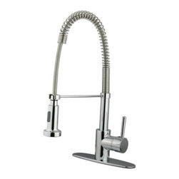 """Kingston Brass - Gourmetier Single Handle Pull-Down Spray Kitchen Faucet Chrome GS8881DL - Single Handle Deck Mount, 1 or 3 Hole Sink Application, 4"""" Centerset, 1 or 3 hole 4"""" center spread installation, Fabricated from solid brass material for durability and reliability, Premium color finish resist tarnishing and corrosion, 180  Joystick type control mechanism, 1/2"""" IPS male threaded inlets with flexible braided stainless steel supply lines, Ceramic disc cartridge, 2.2 GPM (8.3 LPM) Max at 60 PSI, Integrated removable aerator, 4-1/4"""" spout reach from faucet body, 7"""" overall height.. Manufacturer: Kingston Brass. Model: KS8441DL. UPC: 663370037207. Product Name: Kingston Brass Concord Single Handle 4"""" Centerset Lavatory Faucet with Push-Up & Optional Deck Plate. Collection / Series: Concord. Finish: Polished Chrome. Theme: Contemporary / Modern. Material: Brass. Type: Faucet. Features: Drip-free ceramic cartridge system"""