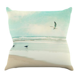 """Kess InHouse - Sylvia Cook """"Away We Go"""" Beach Seagull Throw Pillow (18"""" x 18"""") - Rest among the art you love. Transform your hang out room into a hip gallery, that's also comfortable. With this pillow you can create an environment that reflects your unique style. It's amazing what a throw pillow can do to complete a room. (Kess InHouse is not responsible for pillow fighting that may occur as the result of creative stimulation)."""