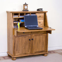 Sunny Designs - Sedona Dropleaf Laptop Desk - Sedona Dropleaf Laptop Desk; Distressed Oak Solids and Veneers; Dropleaf Desk w/ Pull Out Supporting Arm; 5 Utility drawer & 1 File Drawer; 1 Door w/ 1 adjustable Shelf; Simple Assembly; Weight: 177.7 lbs; Dimensions:38x16x44H