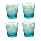 Turquoise Etched Blossom Glasses - What could be prettier for your chinoiserie table than this set of turquoise glasses etched with cherry blossoms? They would also make gorgeous votive candle holders.