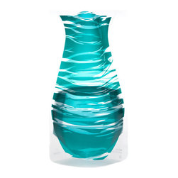 Modgy - Myvaz Expandable Flower Vase Bandido Emerald - Myvaz expandable flower vases do everything a glass vase does except collect dust, chip or break. Available in a variety of designs, myvaz expandable vases are durable and stable enough to hold a flower bouquet. These decorative vases expand with water and are ideal for events, weddings, and any table top. myvaz plastic vases are collapsible and economical, making it easy to keep a variety of colors and patterns tucked away for any occasion.