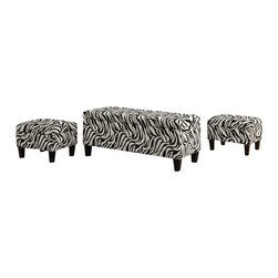 Coaster - Coaster Upholstered Storage Bench and Ottomans in Zebra Print - Coaster - Ottomans - 501083 - If you're looking for something bold and exotic for your living room or bedroom, look no further. This zebra-print storage bench and ottoman set are wrapped in an ultra-soft chenille fabric with cappuccino-finished legs to stand out from the rest of the pack. Both of these ottomans fit perfectly inside the storage bench making packaging wildly convenient.
