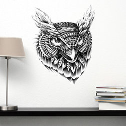 My Wonderful Walls - Owl Head Wall Sticker Decal – Ornate Bird Animal Art by BioWorkZ, Medium - - Product: ornate owl wall sticker decal