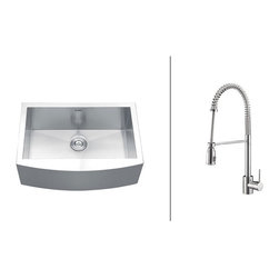 """Ruvati - RVC2436 Stainless Steel Kitchen Sink and Polished Chrome Faucet Set - Ruvati sink and faucet combos are designed with you in mind. We have packaged one of our premium 16 gauge stainless steel sinks with one of our luxury faucets to give you the perfect combination of form and function.; Set includes Stainless Steel Sink, Polished Chrome Faucet, Sink Bottom Grids and Basket Strainer(s); Soap Dispenser Not Included; Flow Rate: 2.2 GPM; Sink constructed of 16 gauge premium 304 grade stainless steel (18/10 Chromium/Nickel content); Sink features luxurious brushed satin finish - easy to clean and long-lasting; Heavy duty sound guard padding and undercoating on sink minimizes noise; Faucet features solid brass construction for long lasting durability; Ceramic disc Sedal cartridge ensures your faucet will stay free of drips and leaks; Flexible coil spout with pull-out head; Faucet can be installed in up to 2"""" thick countertops; Limited lifetime warranty on sink. 1 year warranty on faucet.; Weight: 69 lbs; Dimensions: Sink: 33"""" x 22"""" (Exterior), Bowl Depth: 10""""; Faucet: Height: 20.47"""" Spout Height: 9.84"""" Spout Reach: 6.21"""""""