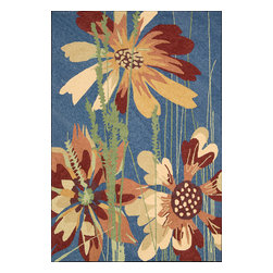 Nourison - South Beach Floral Denim 10' x 13' Nourison Rug by RugLots - Make your outdoors as fabulous as your interiors with this exciting collection of indoor/outdoor rugs. Featuring gorgeous oversized wildflower prints and spectacular color palettes this collection enchants, uplifts and lends an easy elegance to its surroundings. Some of the unique features of this collection are Indoor or Outdoor Uses,UV Protected, Mildew Proof, Fade Resistant, Space Dyed, Easy Clean: Just Rinse with a Hose