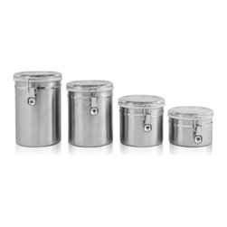 Ragalta - Stainless Steel Canister Set 4 Pc. - Ragalta PureLife 4-piece Stainless Steel canister set with acrylic lids and silicon ring for an air tight seal. Keep your food, spices, and other condiments fresh for a long time. Also add some decorative excitement to any kitchen with these acrylic clear lids with a Stainless Steel band and latch. Includes:. (1) 29 Oz., (1) 42 Oz., (1) 53 Oz., (1) 69 Oz.