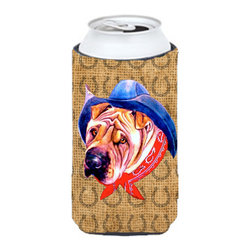 Caroline's Treasures - Shar Pei Dog Country Lucky Horseshoe Tall Boy Koozie Hugger - Shar Pei Dog Country Lucky Horseshoe Tall Boy Koozie Hugger Fits 22 oz. to 24 oz. cans or pint bottles. Great collapsible koozie for Energy Drinks or large Iced Tea beverages. Great to keep track of your beverage and add a bit of flair to a gathering. Match with one of the insulated coolers or coasters for a nice gift pack. Wash the hugger in your dishwasher or clothes washer. Design will not come off.