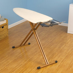Household Essentials Fashion Bamboo Legs Wide Ironing Board - Absolutely necessary in any sewing room is a good ironing surface. This ironing board is extra-wide for larger projects and the added shelf ensures the iron won't accidentally slip off.