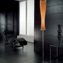"""Luci D'alba floor lamp Pl 1024/180 - The Luci D'alba has been designed by Arcadia for Light for Sillux. Comes with a blown glass lampshade that is available in two colors. The details are in chrome.  Product description:  The Luci D'alba has been designed by Arcadia for Light for Sillux. Comes with a blown glass lampshade that is available in two colors. The details are in chrome.  Details:                         Manufacturer:             Sillux                            Design:                         Arcadia for light                                         Made in:            Italy                            Dimensions:                         Height: 70 7/8"""" (180 cm) X Length: 12 1/2"""" (32 cm)                                          Light bulb:             1 x 24W T5 Fluorescent  + 1 x Par 30 Fluorescent                            Material             chrome, glass"""
