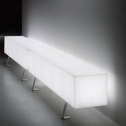 Modoluce - Futura Lettera I Indoor Outdoor Lighted Seat - Futura Lettera I Indoor/Outdoor Lighted Seat comes in White polyethylene and is perfect in any area. Available in LED and Halogen lamping options. LED: Five 5 watt, 120 volt 3000K 80CRI LED bulbs are included. Halogen: Five 25 watt, 120 volt A19 type medium base halogen bulbs are required, but not included. Wet location rated. 59.05 inch width x 17.71 inch height.
