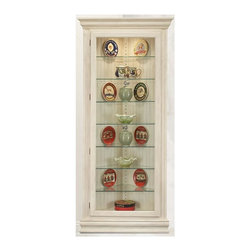 Philip Reinisch - Philip Reinisch Color Time Prism - Lighted Corner Curio Display Cabinet in Solid - The timeless design of the Philip Reinisch Color Time Prism corner Curio Display Cabinet will elegantly enhance any décor.  The cheery sand shell white distressed finish is hand-rubbed to a lustrous sheen, and creates a marvelous showcase for your prized collectibles.  Inside, there's room for all of your treasures in the roomy lighted interior with adjustable glass shelves.  The ingenious reversible back panel makes this sensational cabinet even more versatile, creating an entirely new look.  This impressive cabinet will certainly brighten up in any corner of your home. Eight shelf cabinet. Seven adjustable shelves. Lighted (U.L. & C.S.A Approved). Reversible back: sandshell white board and pattern on one side, chestnut finish on the other. Hand-rubbed and distressed. Made from Solid Northern Hardwood. 33 in. W x 16 in. L x 72 in. H (88 lbs.)
