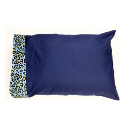 "Jazzie Jungle Boy - Standard Pillow Case - Pillowcase is designed using solid navy and trimmed with ""Cheetah Blue"". Both cotton print fabrics."