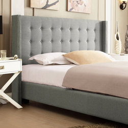 Inspire Q - INSPIRE Q Marion Grey Linen Nailhead Wingback Platform Bed - Inspired by Queen Anne style,this modern wingback headboard creates a unique look. A tufted button headboard makes this bed stunning and attractive.