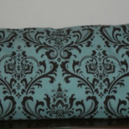 Pillow Covers #1 - Decorative Body Pillow Cover - 20 X 54 inch Traditions Brown on Blue Damask